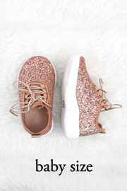 BABYS' SIZE - Girls Lace Up Glitter Bomb Sneakers Shoes-Rose Gold- (LIMITED TIME SALE!)