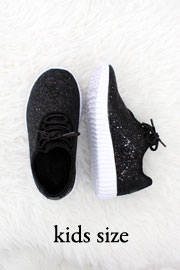 KIDS' SIZE - Girls Lace Up Glitter Bomb Sneakers Shoes-Black - (LIMITED TIME SALE!)