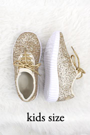 KIDS' SIZE - Girls Lace Up Glitter Bomb Sneakers Shoes- Gold (LIMITED TIME SALE!)
