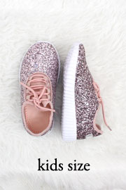 KIDS' SIZE - Girls Lace Up Glitter Sneakers-Pink- (LIMITED TIME SALE!)