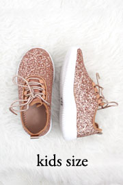 KIDS' SIZE - Girls Lace Up Glitter Bomb Sneakers Shoes-Rose Gold- (LIMITED TIME SALE!)