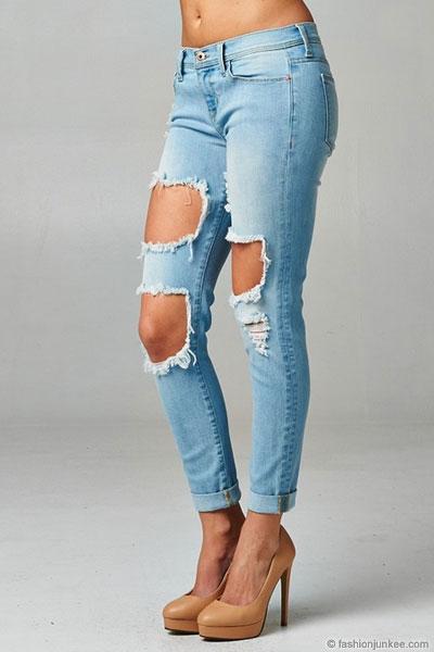 Cutout Ripped Distressed Destroyed Denim Boyfriend Jeans-Light Blue