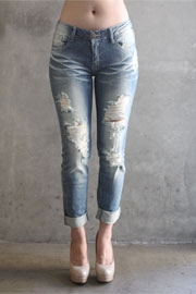 PLUS SIZE Ripped Distressed Destroyed Denim Skinny Boyfriend Jeans-Blue