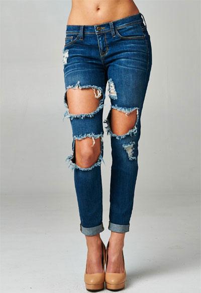 Cutout Ripped Distressed Destroyed Denim Boyfriend Jeans-Dark Blue