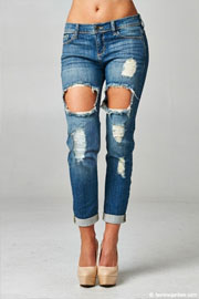 Mid-Rise Cutout Ripped Distressed Destroyed Denim Boyfriend Jeans-Blue
