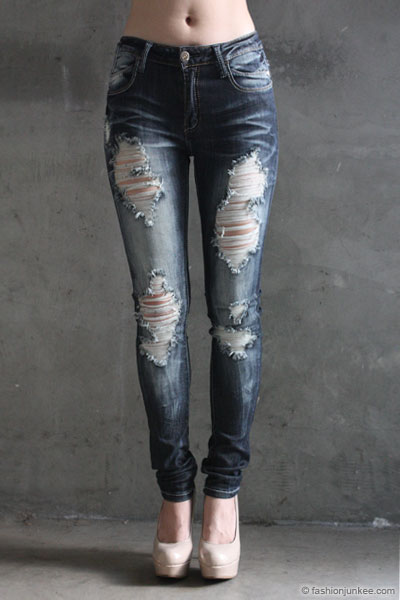 PLUS SIZE Ripped Distressed Destroyed Denim Faded Skinny Jeans ...