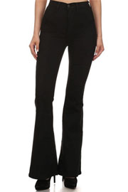 :As Seen In PEOPLE STYLEWATCH Magazine: Vintage Inspired High Waisted Stretch Flared Bell Bottom Denim Jeans-Black