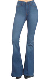 :As Seen In PEOPLE STYLEWATCH Magazine: Vintage Inspired High Waisted Stretch Flared Bell Bottom Denim Jeans-Medium Wash Blue