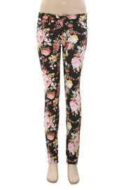 Floral Print Stretch Sexy Skinny Denim Jeans-Grey & Pink