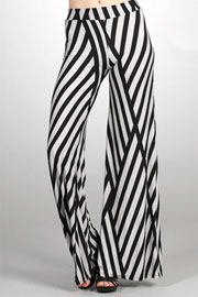 Geometric Print Wide Leg Palazzo Long Gaucho Pants-White & Black