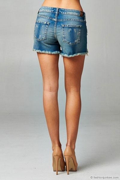 Lace Cutoff Distressed Denim Shorts-Blue