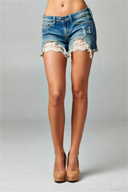 Lace Cutoff Distressed Denim Shorts-Blue - IN STOCK!