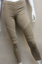 Motorcycle Zipper Stretch Jeggings-Khaki Taupe