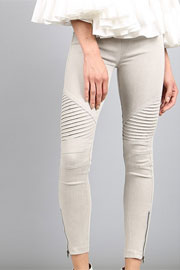 Motorcycle Zipper Stretch Jeggings-Light Grey