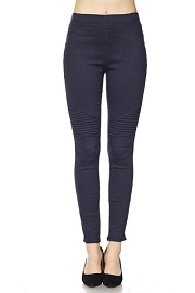 Moto Stretch Jeggings Pants-Dark Navy Blue