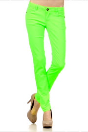 Bright Neon Stretch Sexy Colored Skinny Denim Jeans-Lime Green