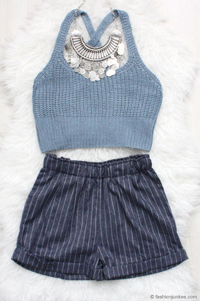 Pin Stripe Denim Shorts with Pockets-Dark Blue
