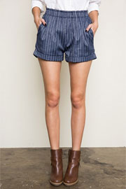 :As Seen In PEOPLE STYLEWATCH Magazine: Pin Stripe Shorts with Pockets-Dark Denim Blue