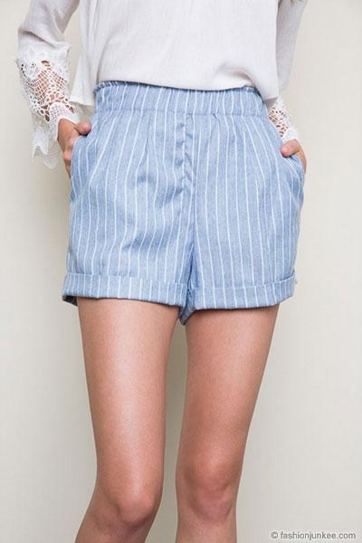 Pin Stripe Denim Shorts with Pockets-Light Blue