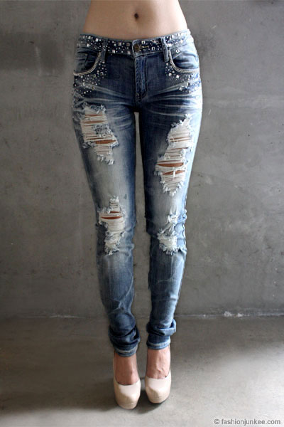 PLUS SIZE Rhinestone Distressed Ripped Destroyed Denim Skinny ...
