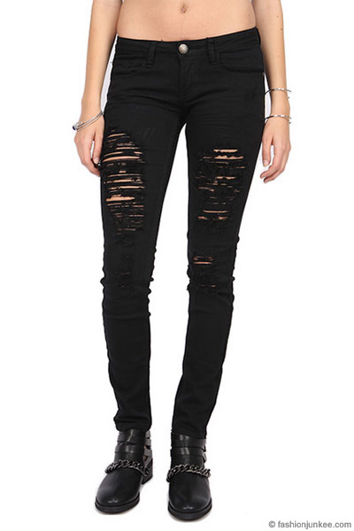 PLUS SIZE Ripped Distressed Destroyed Denim Skinny Jeans-Black