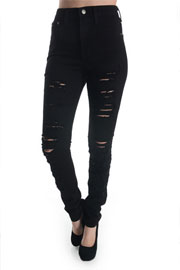 Stretch Mid-Rise Ripped Distressed Destroyed Skinny Jeans-Black
