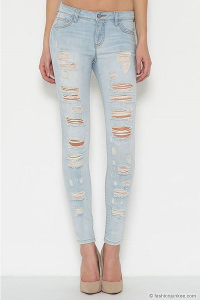 Plus Size Stretch Ripped Distressed Destroyed Skinny Jeans-Light ...