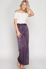 :As Seen In PeopleStyle Magazine: Wide Leg Satin Pants-Dusty Purple