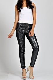 PLUS SIZE Metallic Sequin Leggings Pants-Black - NOW IN STOCK!