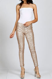 PLUS SIZE Metallic Sequin Leggings Pants-Gold - NOW IN STOCK!