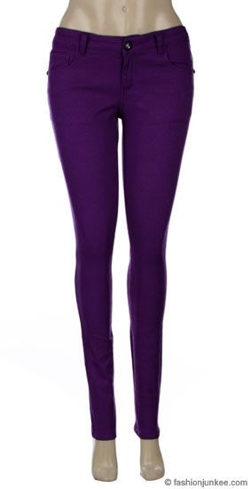 Thick Stretch Sexy Colored Skinny Denim Jeans-Purple
