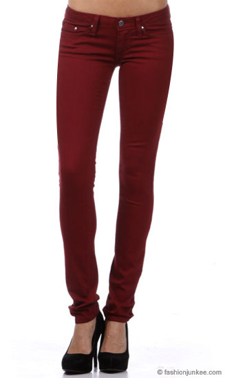 Stretch Sexy Colored Skinny Denim Jeans-Dark Red Burgundy