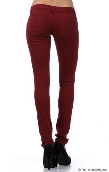 Stretch Sexy Colored Skinny Denim Jeans-Dark Red, Burgundy