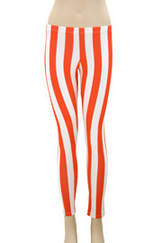 Edgy Vertical Striped Leggings-Coral & White