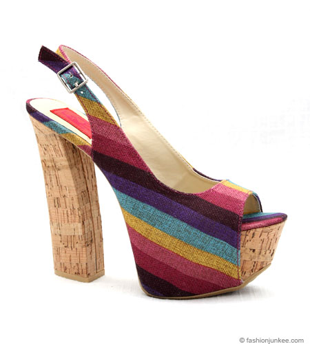 Canvas Striped Platform Sandals with Thick Cork Heel-Purple