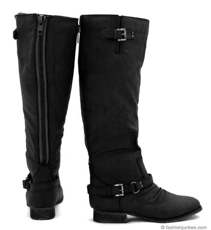 Zipper Back Faux Leather Calf Length Rider Flat Boots-Black