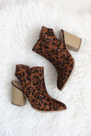 Closed Toe Stitch Chunky Heel Faux Suede Booties- Leopard Print