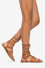 Bohemian Lace Up Gladiator Festival Flat Sandals-Camel Brown