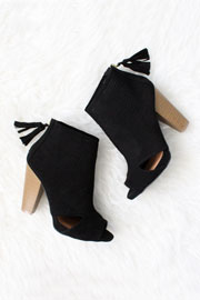 Faux Suede Perforated Open Peep Toe Cut Out Ankle Booties-Black