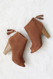 Faux Suede Perforated Open Peep Toe Cut Out Ankle Booties-Camel Brown