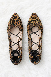 Faux Suede Pointy Toe Lace Up Strappy Ballet Ballerina Flats-Leopard Print