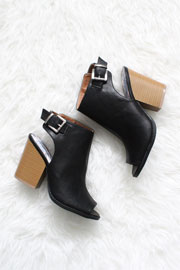 Faux Leather Open Peep Toe Ankle Booties with Stacked Chunky Heel-Black