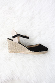 Faux Suede Ankle Espadrille Wedge Sandals-Black
