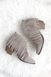FLASH SALE: Boho V-Shaped Faux Suede Fringe Ankle Booties-Grey