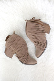 Boho V-Shaped Faux Suede Fringe Ankle Booties-Taupe
