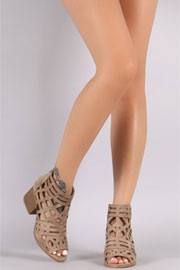 Caged Strappy Open Peep Toe Ankle Booties-Taupe
