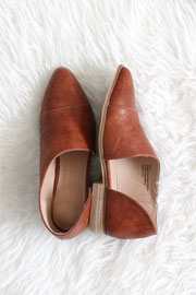 Faux Leather Side Cutout Flats-Cognac Brown