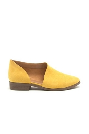 Closed Toe Faux Suede Side Cutout Flats-Yellow