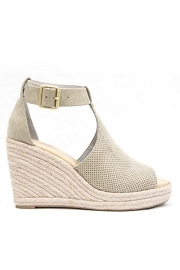 Perforated Faux Suede Open Toe Ankle Strap Platform Wedge Espadrille Sandals-Taupe