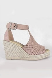 Perforated Faux Suede Open Toe Ankle Strap Platform Wedge Espadrille Sandals-Blush Pink